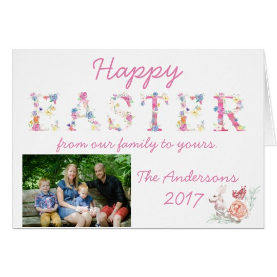 Happy Easter Family Photo Card Custom