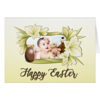 Happy Easter, Floral Framed Photo and Easter Egg Card