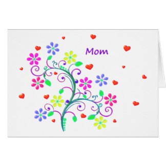 Happy Easter Floral, Swirls and Heart Greeting Card