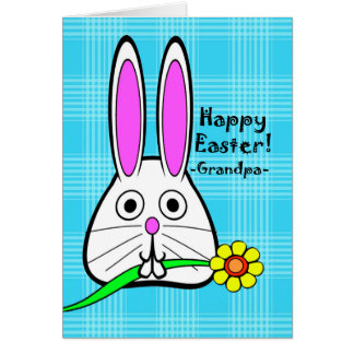Happy Easter for Grandpa, Cute Rabbit with Flower Greeting Card