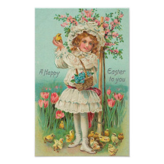 Happy Easter Girl Vintage Poster