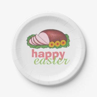Happy Easter Glazed Sliced Ham Dinner Plates