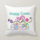 Happy Easter Glitter Eggs & Floral Cushion