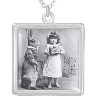 Happy Easter Grandma Gift Precious Bunny Square Pendant Necklace