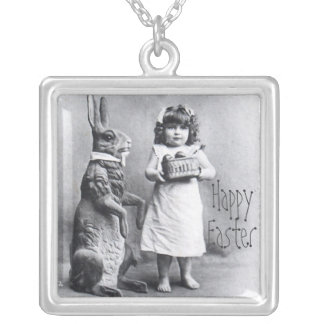 Happy Easter Grandma Gift Precious Bunny Silver Plated Necklace