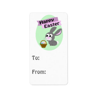 Happy Easter! Gray Bunny Address Label