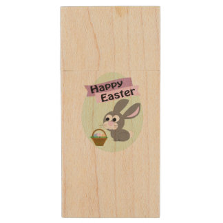 Happy Easter! Gray Bunny Wood USB 2.0 Flash Drive