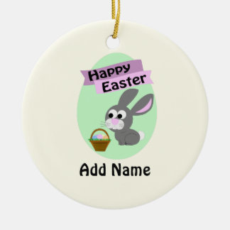Happy Easter! Gray Bunny Round Ceramic Decoration