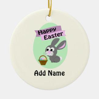 Happy Easter! Gray Bunny Round Ceramic Decoration
