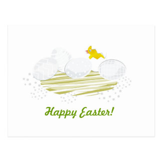 happy easter gray & green postcard