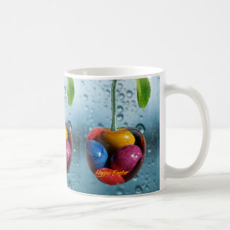 Happy Easter greeting, Cherry with colorful eggs Coffee Mug