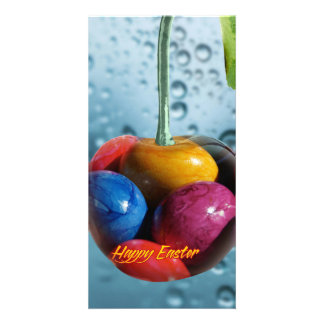 Happy Easter greeting, Cherry with colorful eggs Photo Card