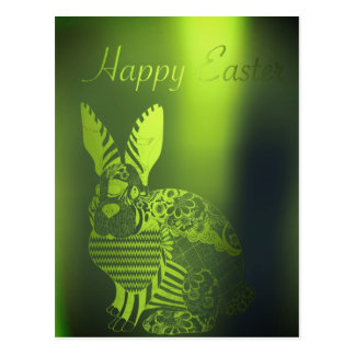 Happy Easter Greeting Greenery Metallic Rabbit Postcard