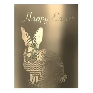 Happy Easter Greetings Sepia Foxier Metalli Rabbit Postcard