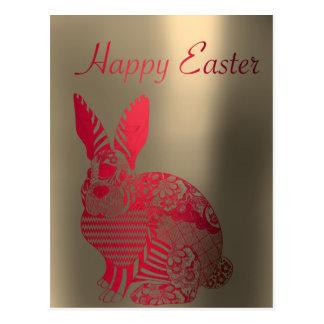 Happy Easter Greetings Sepia Red Metallic Rabbit Postcard