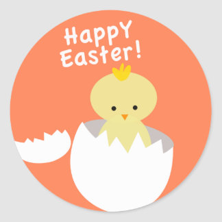 Happy Easter Hatching Chick Classic Round Sticker