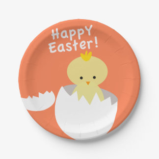 Happy Easter Hatching Chick Paper Plate