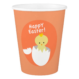 Happy Easter Hatching Chick Peach Paper Cup