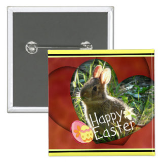 Happy Easter Heart Bunny Rabbit Button
