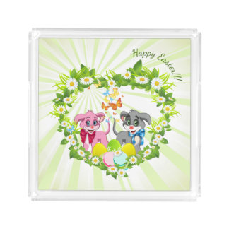 Happy Easter Heart Nose Puppies Cartoon Acrylic Tray