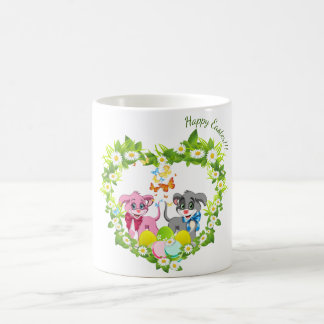 Happy Easter Heart Nose Puppies Cartoon Coffee Mug