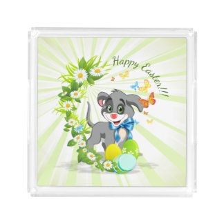 Happy Easter Heart Nose Puppy Cartoon Acrylic Tray
