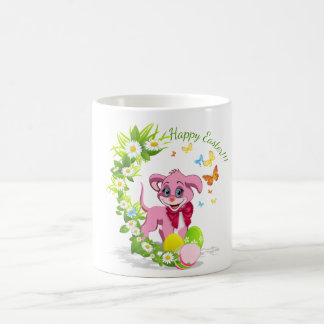 Happy Easter Heart Nose Puppy Cartoon Coffee Mug