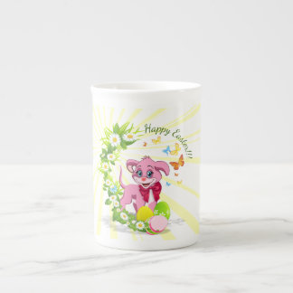 Happy Easter Heart Nose Puppy Cartoon Tea Cup