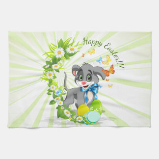 Happy Easter Heart Nose Puppy Cartoon Tea Towel