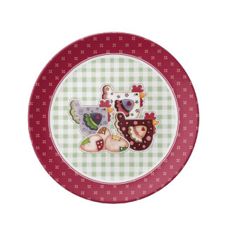 Happy Easter. Hen Country Design Gift Plates
