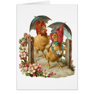 Happy Easter Hens Vintage Card