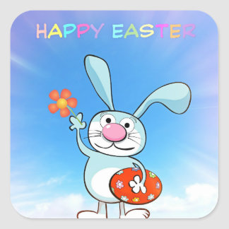 HAPPY EASTER Holiday Spring Bunny Colored Eggs Square Sticker