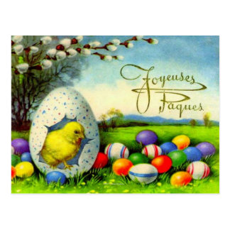 HAPPY EASTER IN FRENCH POSTCARD