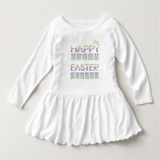 Happy Easter in rabbit letter Toddler Ruffle Dress