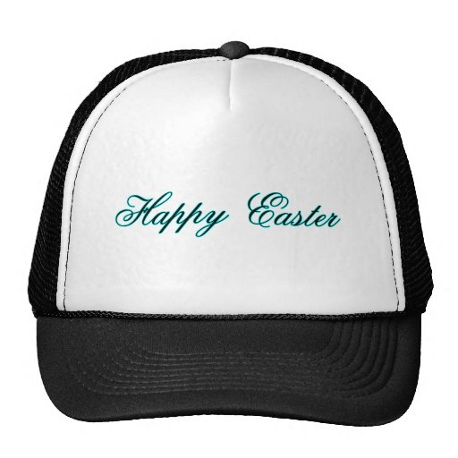 Happy Easter l Cyan The MUSEUM Zazzle Gifts Mesh Hat