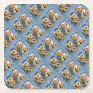 Happy Easter Lambs Square Paper Coaster