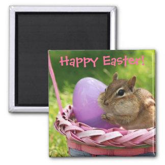 Happy Easter Little Chipmunk Square Magnet