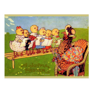 HAPPY EASTER MOTHER HEN WITH SINGING CHICKS POSTCARD
