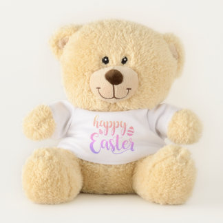 Happy Easter Multi-colored Easter Egg Typography Teddy Bear