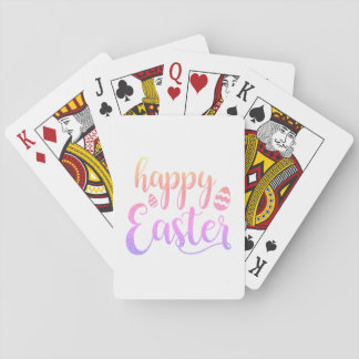 Happy Easter Multi-coloured Easter Egg Typography Playing Cards