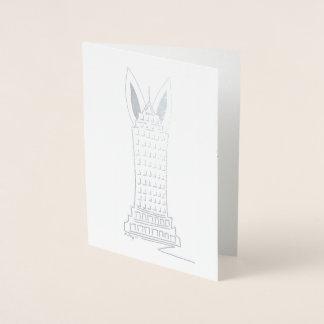 Happy Easter NYC Skyscraper Bunny Ears New York Foil Card