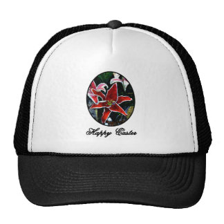Happy Easter o Black Tiger Lily The MUSEUM Zazzle Trucker Hats