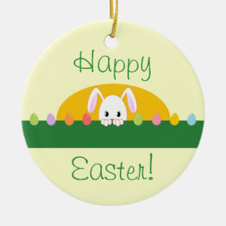 Happy Easter Peeking Bunny Round Ornament