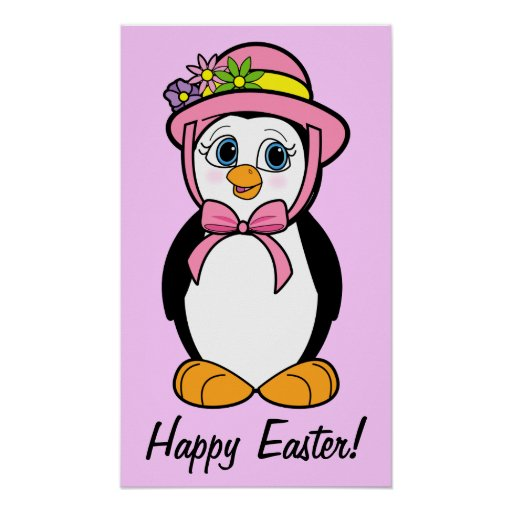 Happy Easter Penguin in her Easter Bonnet on Pink Print