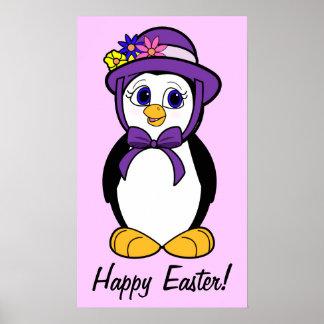 Happy Easter Penguin in her Purple Bonnet Posters