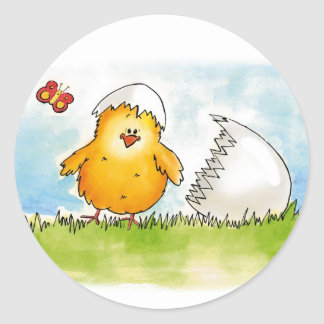 Happy Easter- Personalize with name - Chick just h Round Stickers