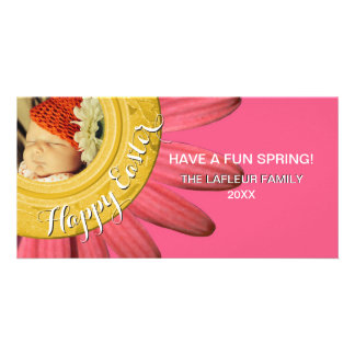 Happy Easter Photo | Spring Daisy Pink Gold Card