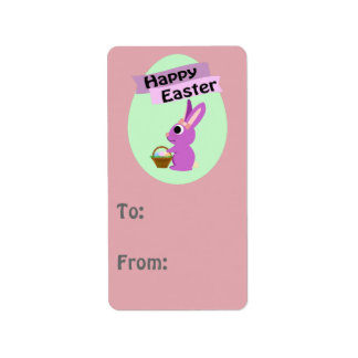 Happy Easter! Pink Bunny Address Label