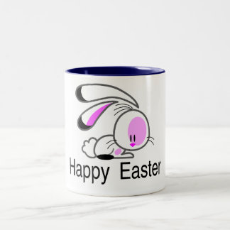 Happy Easter Pink Bunny Mugs