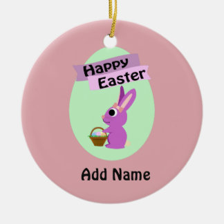 Happy Easter! Pink Bunny Round Ceramic Decoration